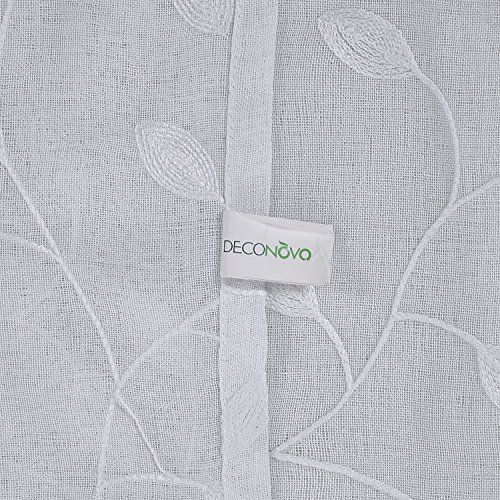 Deconovo Solid Sheer Curtains Drapes Floral Leaves Faux Pertaining To Embroidered Rod Pocket Kitchen Tiers (View 15 of 49)