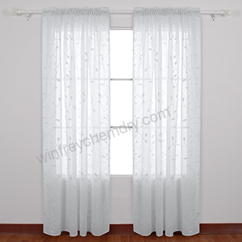 Deconovo Solid Sheer Curtains Drapes Floral Leaves Faux Regarding Embroidered Rod Pocket Kitchen Tiers (View 16 of 49)