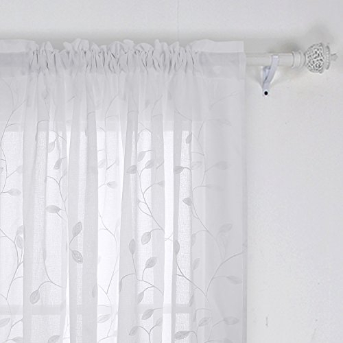 Deconovo Solid Sheer Curtains Drapes Floral Leaves Faux Within Linen Stripe Rod Pocket Sheer Kitchen Tier Sets (#10 of 46)