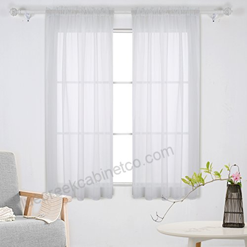 Deconovo White Sheer Curtains 63 Inch Length Rod Pocket Pertaining To Serene Rod Pocket Kitchen Tier Sets (#7 of 30)