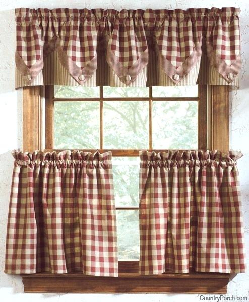 Decoration: Kitchen Valance Curtains Pertaining To Red Rustic Kitchen Curtains (#12 of 30)