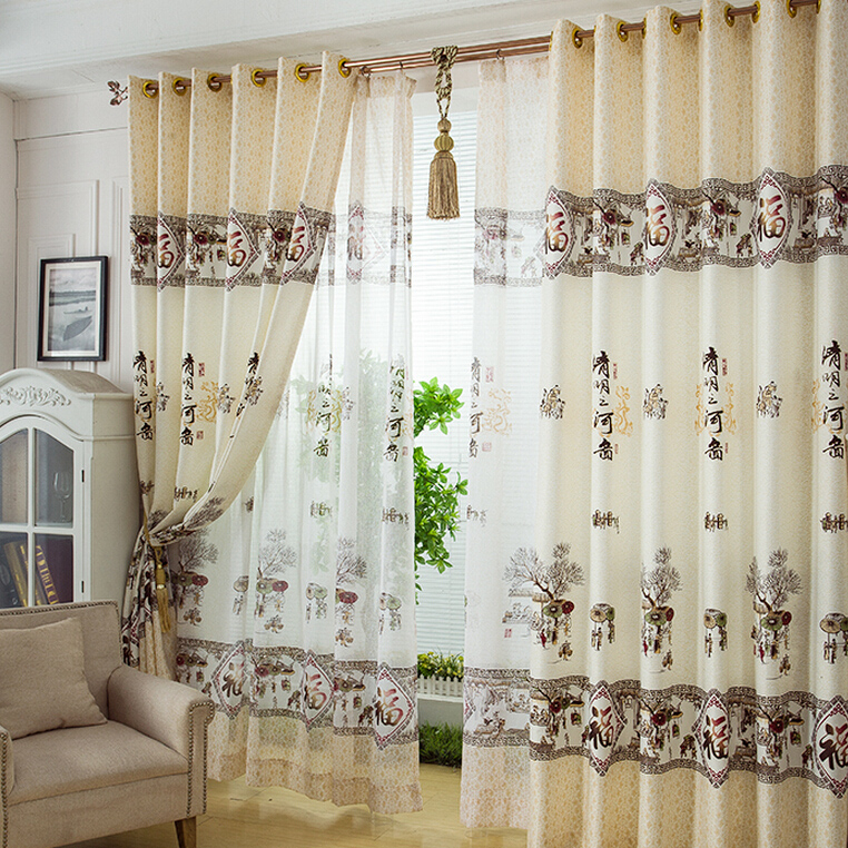 Decorative Chinese Style Landscape Pattern Beige Polyester Living Room  Curtains With Cotton Blend Classic Checkered Decorative Window Curtains (View 12 of 30)