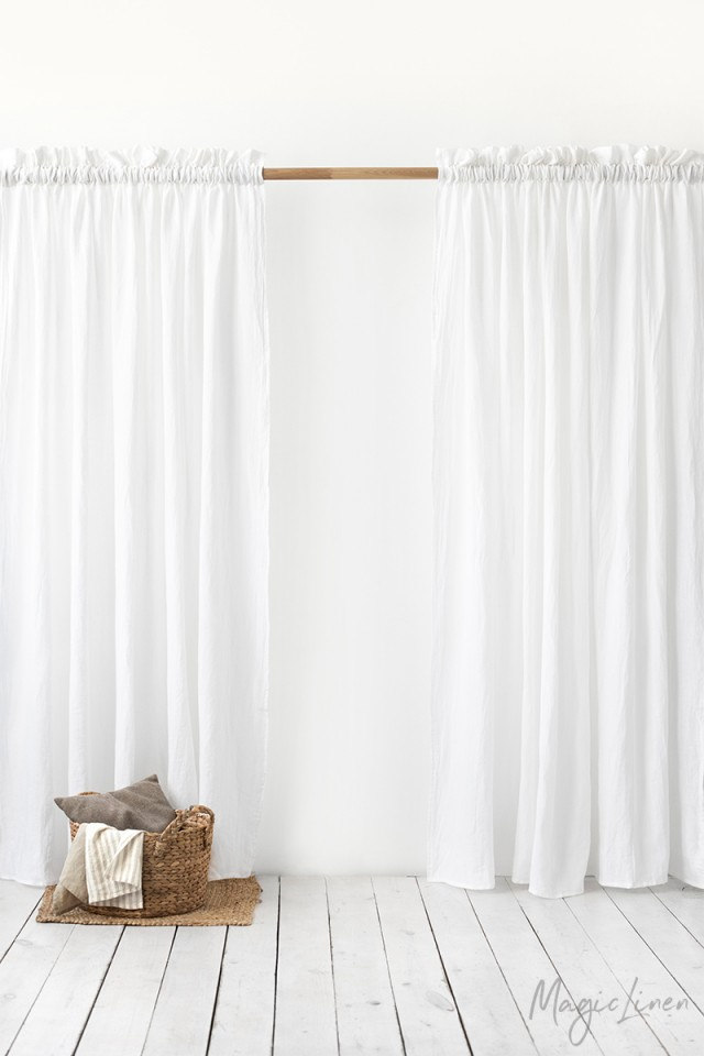 Decorative Rod Pocket Linen Curtains | Magiclinen For Linen Stripe Rod Pocket Sheer Kitchen Tier Sets (#11 of 46)