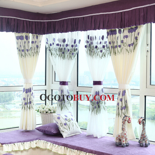 Decorative Tulip Floral Pattern In Lilac Color Bay Window With Regard To Floral Pattern Window Valances (View 10 of 50)