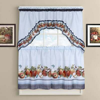 Popular Photo of Delicious Apples Kitchen Curtain Tier And Valance Sets