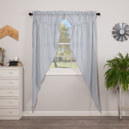 Inspiration about Denim Blue Farmhouse Curtains Miller Farm Ticking Stripe Rod In Simple Life Flax Tier Pairs (#17 of 30)