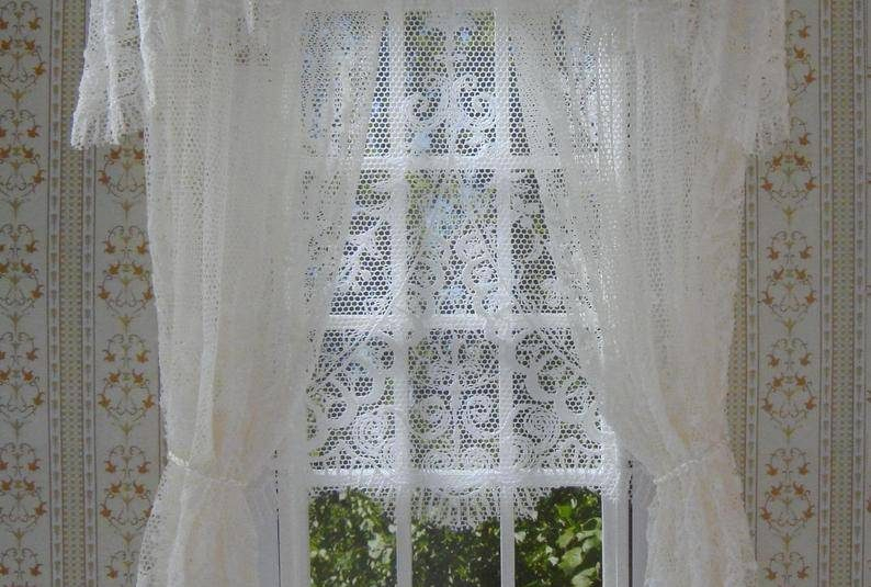 Inspiration about Design Sizes Office Curtains Valances Window Systems With Regard To Ivory Knit Lace Bird Motif Window Curtain (#43 of 50)