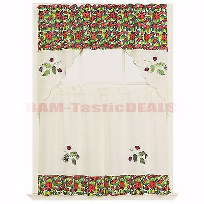Details About 3 Piece Kitchen Curtain With Swag And Tier For Embroidered Ladybugs Window Curtain Pieces (View 10 of 50)