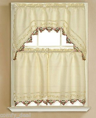 Inspiration about Details About 3Pc Beige With Embroidered Gold Sunflower With Floral Embroidered Sheer Kitchen Curtain Tiers, Swags And Valances (#32 of 50)