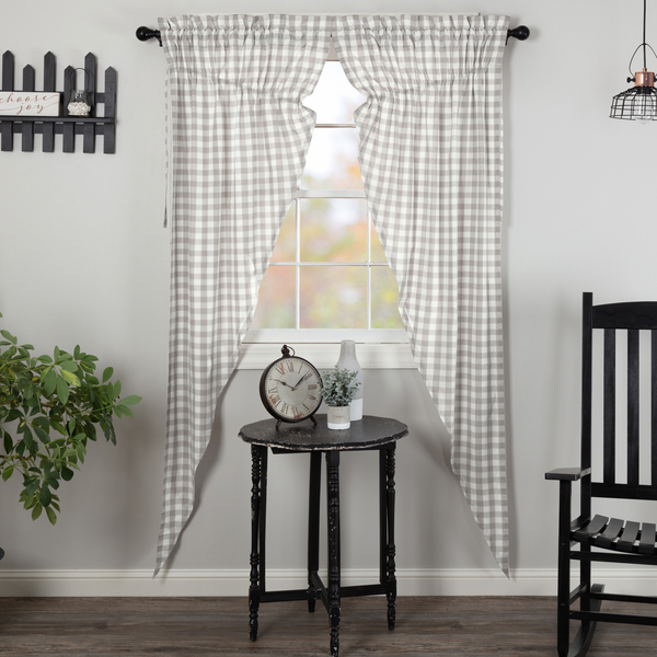 Details About Annie Buffalo Grey Check Cotton Country Window Long Prairie  Curtains Pertaining To Cumberland Tier Pair Rod Pocket Cotton Buffalo Check Kitchen Curtains (View 14 of 30)