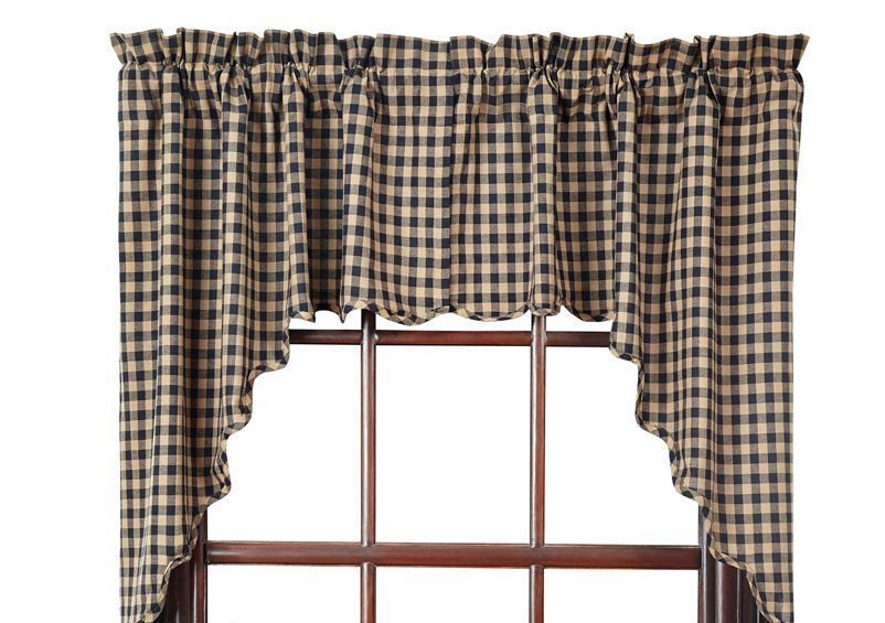 Details About Black Check Window Swag Scalloped Farmhouse Pertaining To Check Scalloped Swag Sets (View 14 of 30)