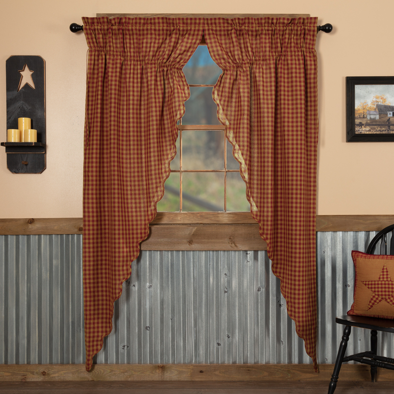 Details About Burgundy Check Scalloped Cotton Country Cottage Window Long  Prairie Curtains Within Check Scalloped Swag Sets (View 15 of 30)