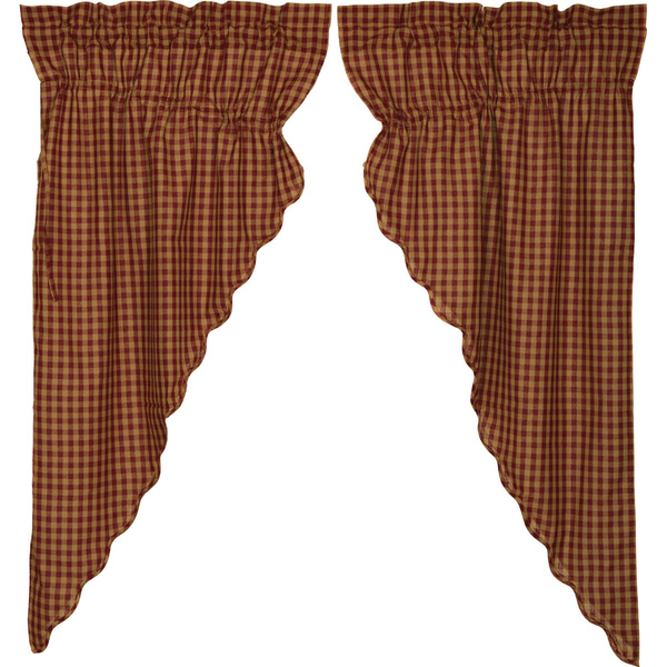 Details About Burgundy Check Scalloped Cotton Country Cottage Window  Prairie Curtains Regarding Burgundy Cotton Blend Classic Checkered Decorative Window Curtains (View 16 of 30)
