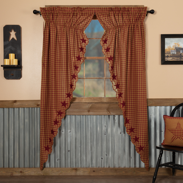 Details About Burgundy Star Scalloped Cotton Country Primitive Window Long  Prairie Curtains Pertaining To Burgundy Cotton Blend Classic Checkered Decorative Window Curtains (View 17 of 30)