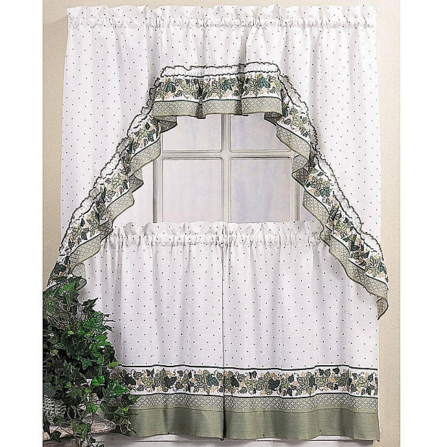 Inspiration about Details About Cotton Blend 36 Inch Ivy Floral Tier Curtain And Swag Set  White Inside Cotton Blend Ivy Floral Tier Curtain And Swag Sets (#1 of 30)