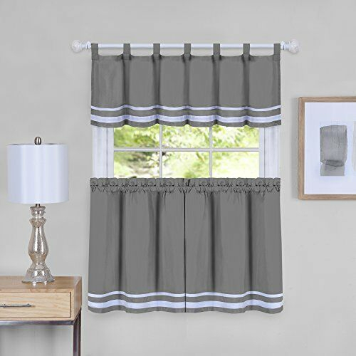 Inspiration about Details About Dakota Window Curtain Tier Pair And Valance Set – 58X36 – Grey Throughout Window Curtain Tier And Valance Sets (#1 of 50)