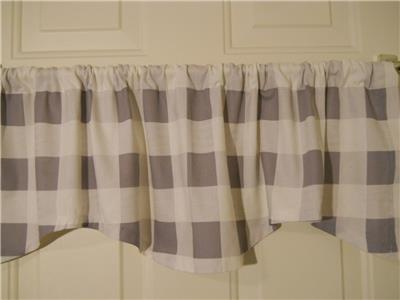 "Inspiration about Details About Farmhouse Kitchen Valance Curtain~2 1/2"" Buffalo  Check~Gray~White~Window~Topper Within Barnyard Buffalo Check Rooster Window Valances (#12 of 30)"