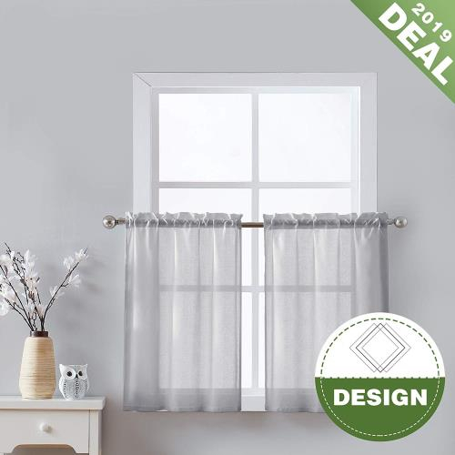 Inspiration about Details About Fmfunctex Sheer Gray Kitchen Curtains 36 Inches Long Opaque Half Window Tier Mor With Regard To Light Filtering Kitchen Tiers (#38 of 50)