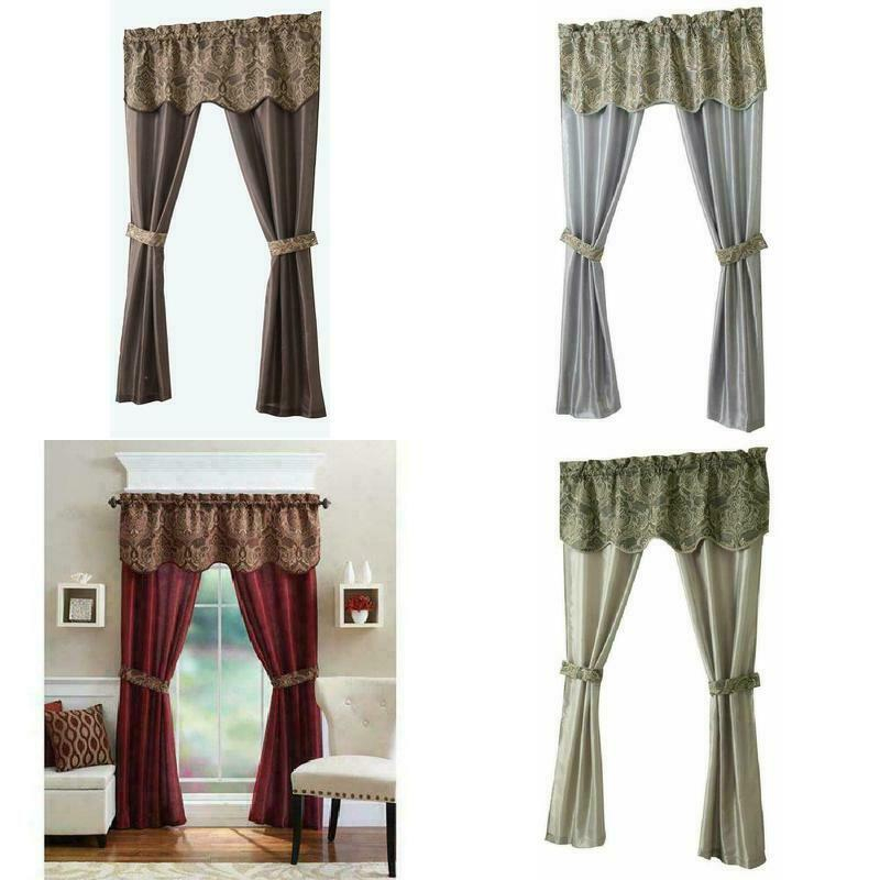 Inspiration about Details About Goodgram 5 Piece Window Set, 54 X 84 Inches  Chocolate/blue/brick/green New Inside Chocolate 5 Piece Curtain Tier And Swag Sets (#13 of 30)