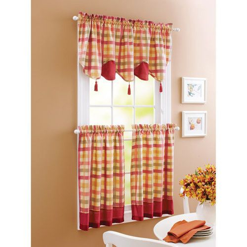Inspiration about Details About Green And Tan Plaid Homespun Valance Tiers With Regard To Red Primitive Kitchen Curtains (#16 of 30)