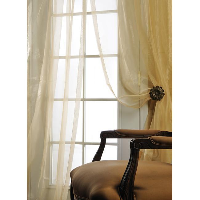 Details About Ivory Silk Organza 108 Inch Wide Sheer Curtain Panel 108 Inches Wide Within Ivory Micro Striped Semi Sheer Window Curtain Pieces (View 21 of 50)