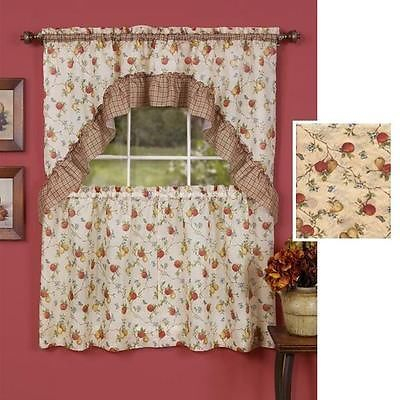 Inspiration about Details About Kitchen Curtains 3 Pc. Set With Attached Intended For Classic Kitchen Curtain Sets (#1 of 50)