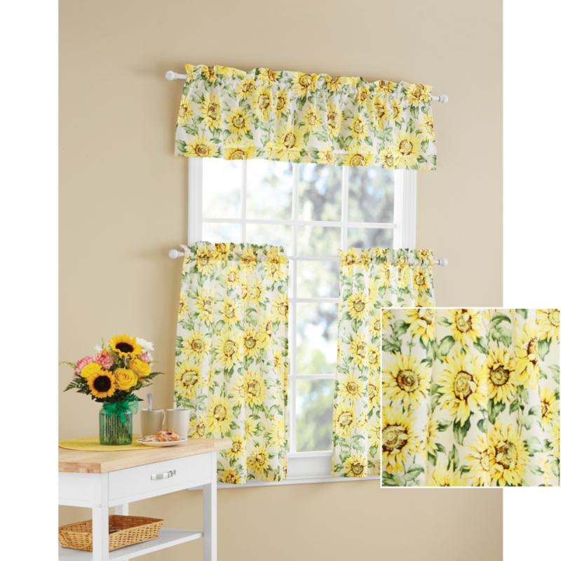 Details About Kitchen Curtains Sunflower 3 Piece Valance Set Machine  Washable Polyester Finish Inside Sunflower Cottage Kitchen Curtain Tier And Valance Sets (#29 of 50)