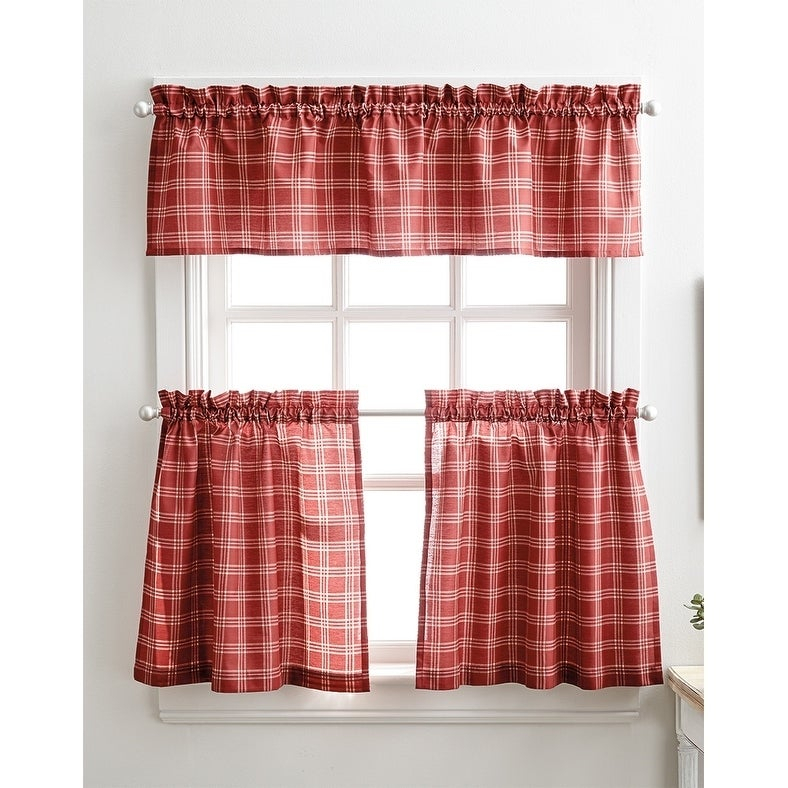 Details About Lodge Plaid 3 Piece Kitchen Curtain Tier And Valance Set – Inside Scroll Leaf 3 Piece Curtain Tier And Valance Sets (View 3 of 50)