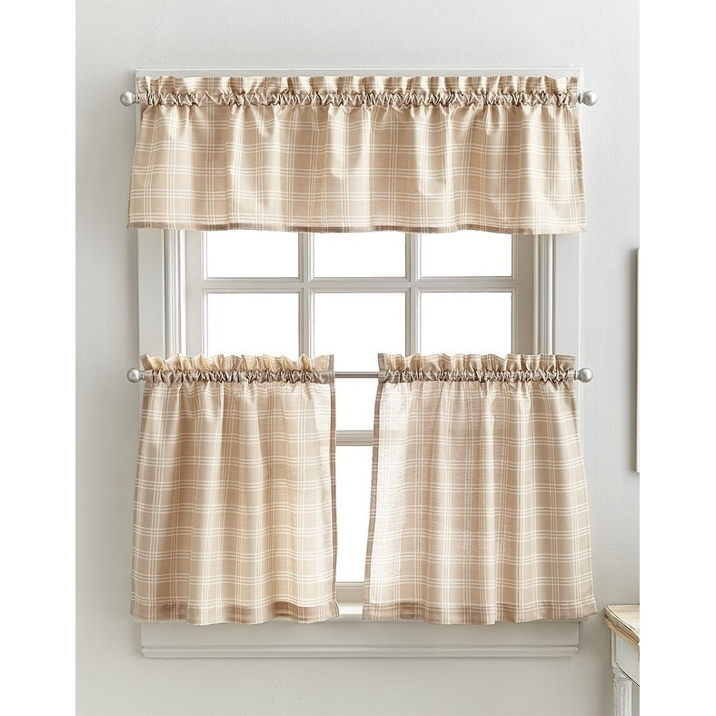 Details About Lodge Plaid 3 Piece Kitchen Curtain Tier And Valance Set – Intended For Abby Embroidered 5 Piece Curtain Tier And Swag Sets (View 11 of 30)