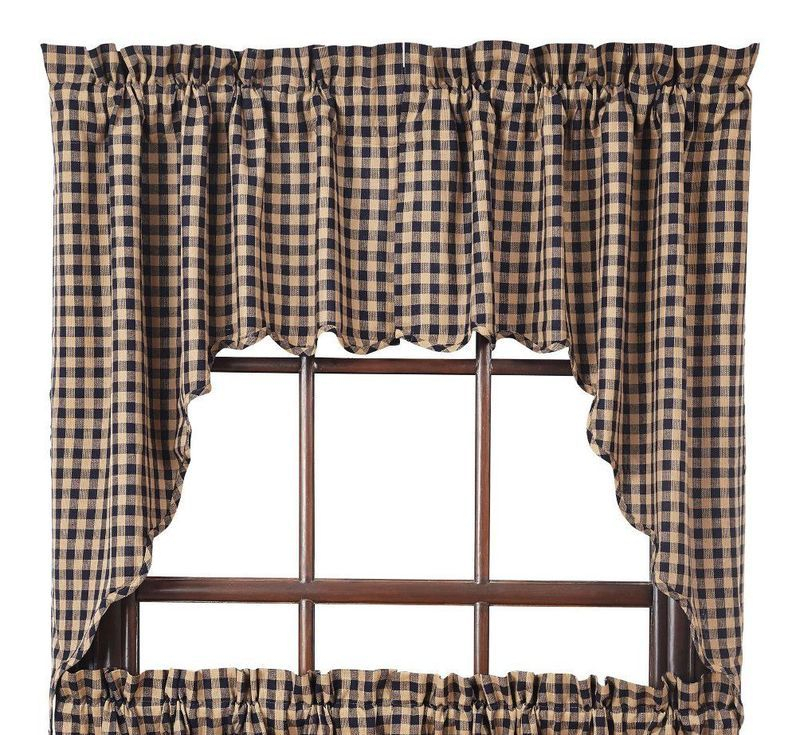 Details About Navy/tan Check Scalloped Cotton Country Cottage Lined Window  Swags Throughout Check Scalloped Swag Sets (View 16 of 30)