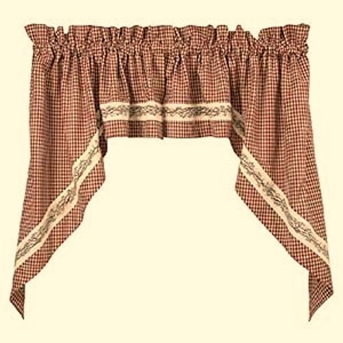 Inspiration about Details About New Country Primitive Homespun Red Burgundy In Burgundy Cotton Blend Classic Checkered Decorative Window Curtains (#26 of 30)