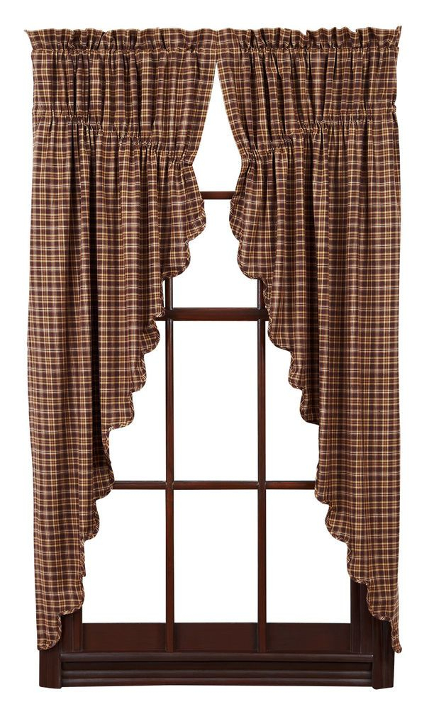 Details About New Country Primitive Log Cabin Tan Natural With Check Scalloped Swag Sets (View 17 of 30)