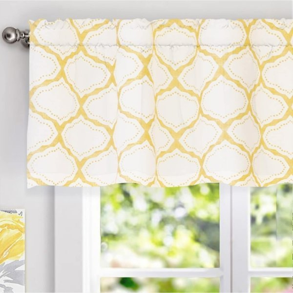 "Details About New Driftaway Geo Trellis Window Curtain Valance Yellow  52""x18"" Within Trellis Pattern Window Valances (#7 of 30)"