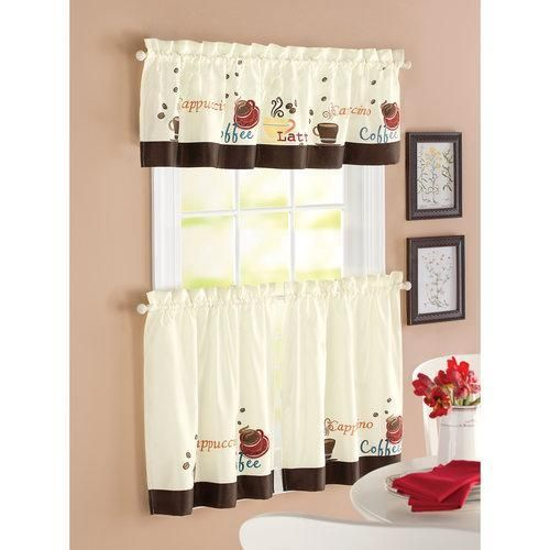 Details About Red Brown Off White Coffee Themed 3Pc Kitchen Throughout Coffee Drinks Embroidered Window Valances And Tiers (View 14 of 45)
