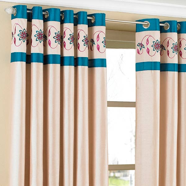 Details About Riva Home Petra Floral Embroidered Faux Silk Eyelet Curtains Pertaining To Floral Embroidered Faux Silk Kitchen Tiers (View 9 of 50)
