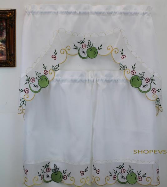 Details About Royal Apple Green Kitchen Curtain With Swag And Tier Set 36 In For Delicious Apples Kitchen Curtain Tier And Valance Sets (View 27 of 30)