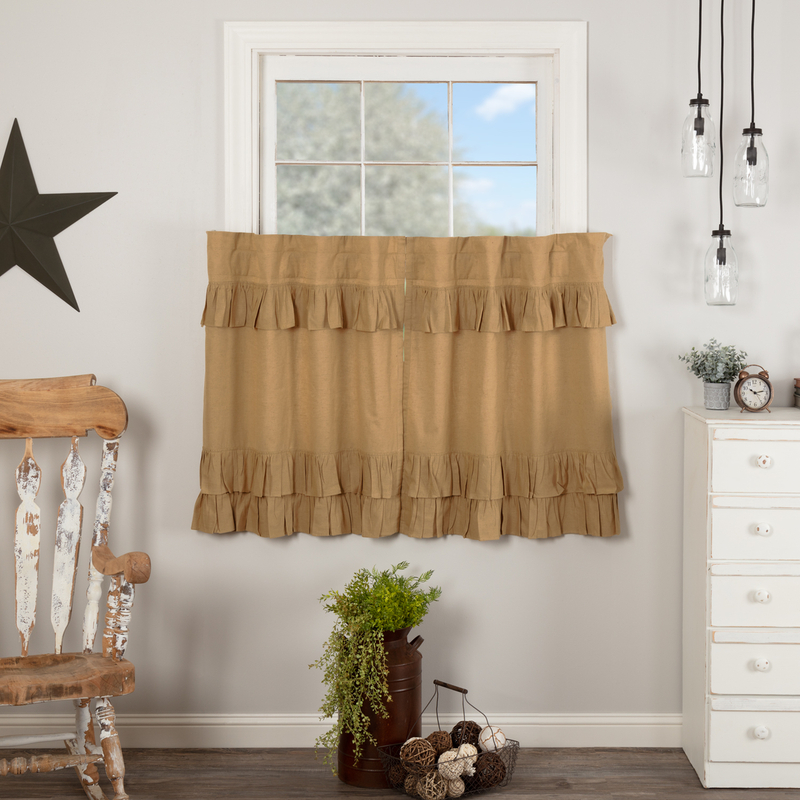 Inspiration about Details About Simple Life Flax Khaki Ruffled Country Farmhouse Lined Tiers (2) Sizes In Simple Life Flax Tier Pairs (#1 of 30)