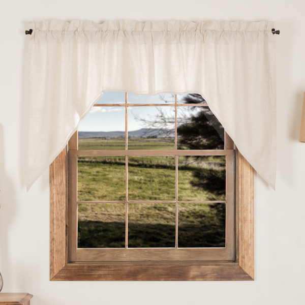 Details About Simple Life Flax Natural Cotton Country Cottage Lined Window Swags Intended For Simple Life Flax Tier Pairs (View 7 of 30)