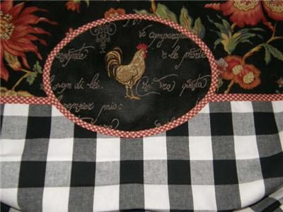 Details About Valance French Country Toile Rooster Plaid With Regard To Barnyard Buffalo Check Rooster Window Valances (View 14 of 30)