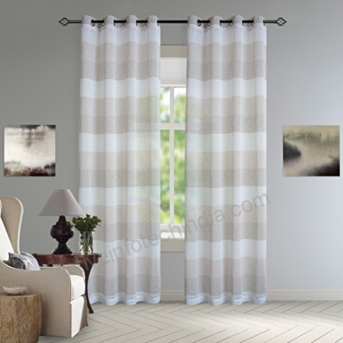 Dezene Striped Sheer Curtains For Living Room – 2 Panels In Linen Stripe Rod Pocket Sheer Kitchen Tier Sets (#12 of 46)