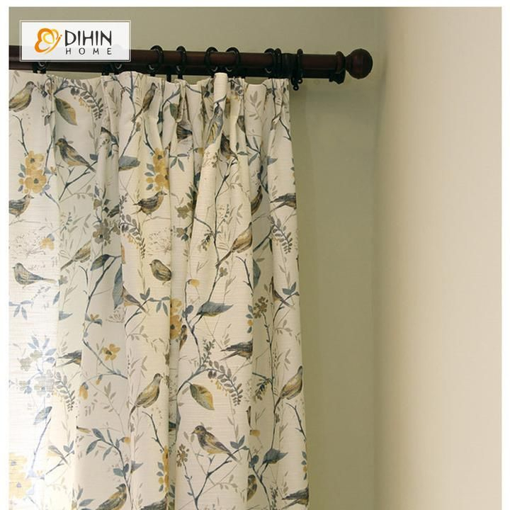 Inspiration about Dihin Home Thickness Flower And Bird Printed Curtains Throughout Floral Watercolor Semi Sheer Rod Pocket Kitchen Curtain Valance And Tiers Sets (#22 of 50)