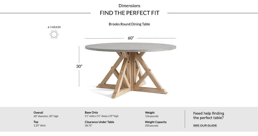 Inspiration about Dimensions_Table_Brooksround Brooks Round Dining Table Within Favorite Brooks Round Dining Tables (#3 of 30)