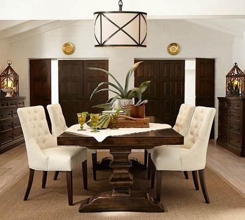 Dining Room Table Look For Less? With Latest Alfresco Brown Banks Pedestal Extending Dining Tables (View 7 of 30)