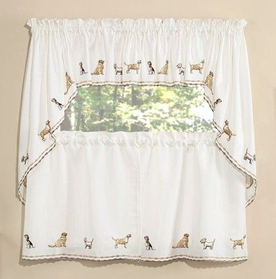 Dogs Embroidered Kitchen Curtain | Dog | Kitchen Curtains For Fluttering Butterfly White Embroidered Tier, Swag, Or Valance Kitchen Curtains (View 6 of 50)