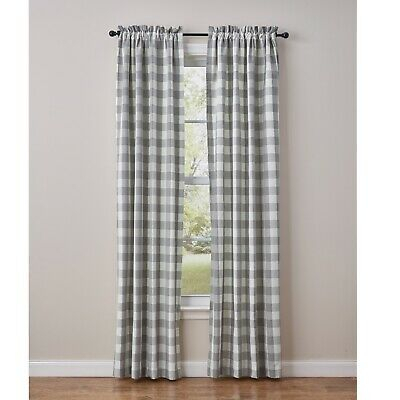 "Dove Gray Buffalo Check Curtains : 84"" X 72"" Country Plaid In Dove Gray Curtain Tier Pairs (View 12 of 30)"