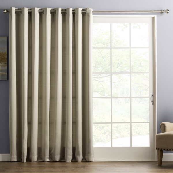 Drapes For Sliding Glass Doors | Wayfair Inside Oakwood Linen Style Decorative Curtain Tier Sets (View 29 of 30)