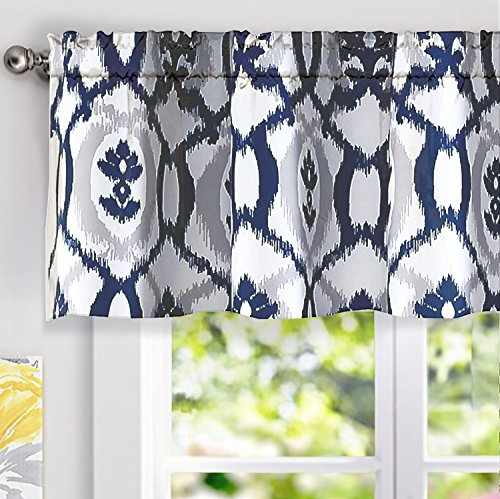 """Driftaway Evelyn Ikat Fleur/floral Pattern Window Curtain Valance,  52""""x18""""(Navy Blue) Intended For Medallion Window Curtain Valances (#21 of 48)"""