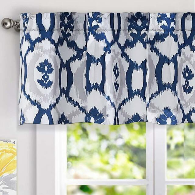 """Inspiration about Driftaway Evelyn Ikat Fleur/floral Pattern Window Curtain Valance,  52""""x18""""navy Throughout Floral Pattern Window Valances (#1 of 50)"""