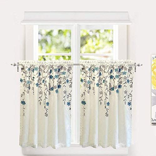 Driftaway Isabella Faux Silk Embroidered Kitchen Tiers Inside Faux Silk 3 Piece Kitchen Curtain Sets (View 15 of 44)