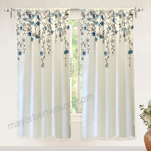 Inspiration about Driftaway Isabella Faux Silk Embroidered Window Curtain For Live, Love, Laugh Window Curtain Tier Pair And Valance Sets (#34 of 50)